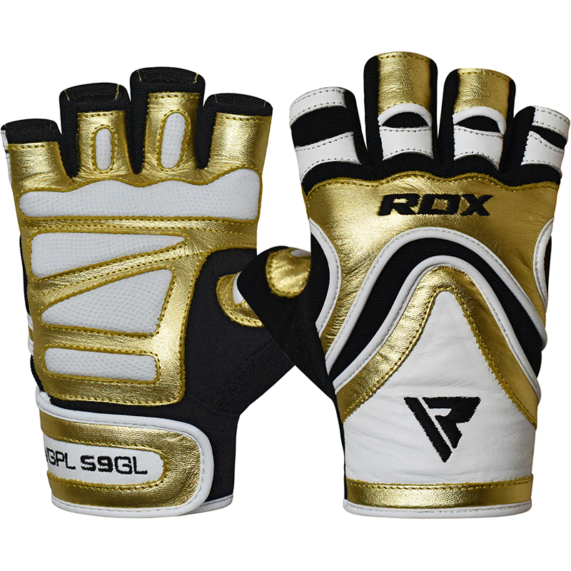 RDX S9 Glaze Gants de Musculation Petite d'or Cuir