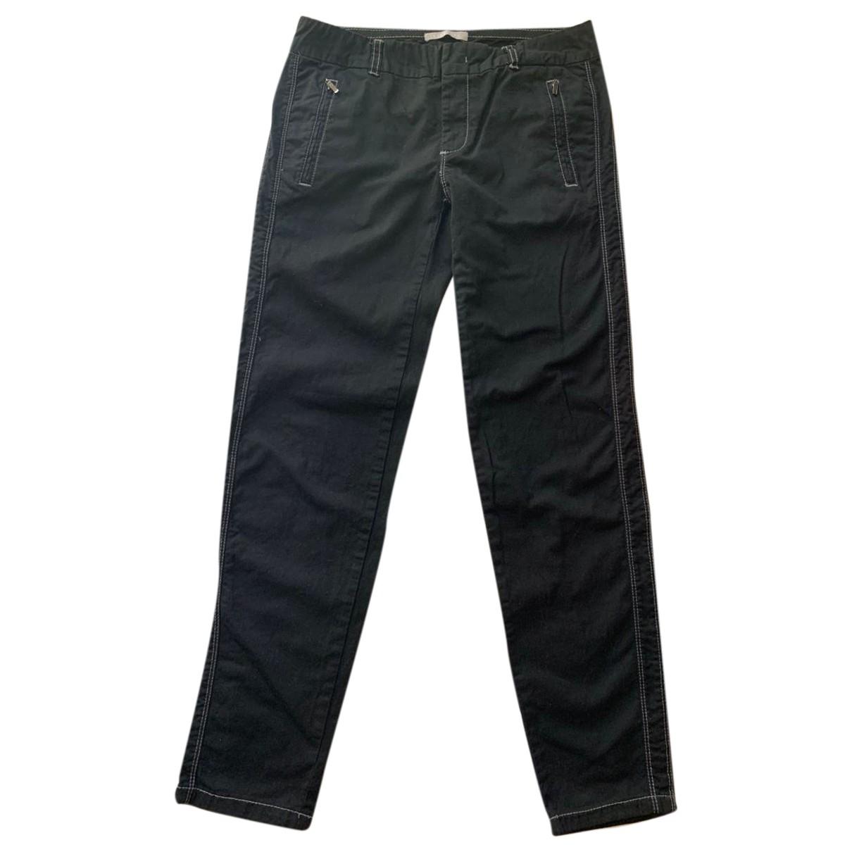 Stefanel \N Black Cotton Trousers for Women 6 US