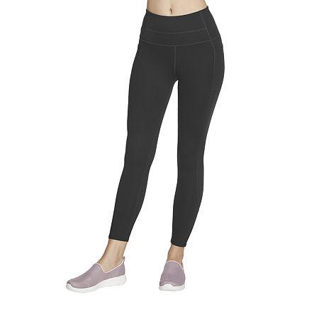 Skechers Gowalk Wear Womens High Rise 7/8 Ankle Leggings, Large , Black