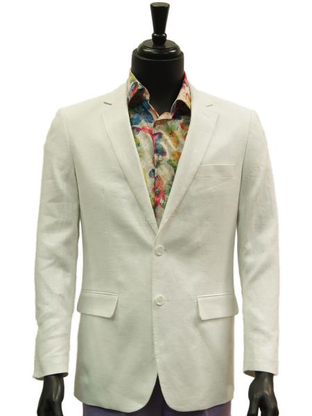 Mens Notch Lapel 2 Buttons White Single Breasted Linen Casual Blazer