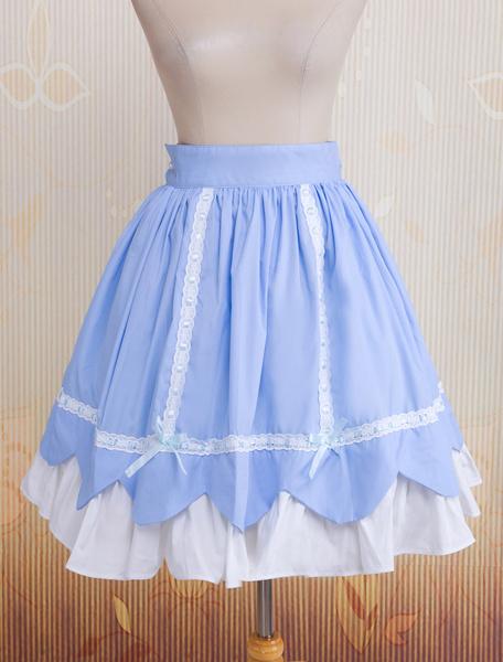 Milanoo Sky Blue Ruffled Bow Cotton Lolita Skirt