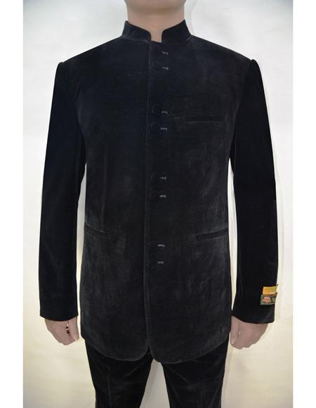 Marriage Groom Wedding Indian Nehru Pattern Mens Blazer Black