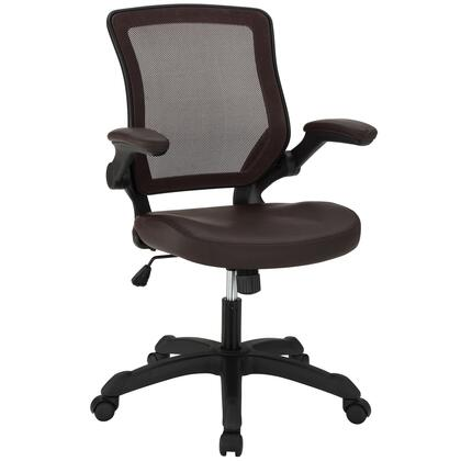 Veer Collection EEI-291-BRN Office Chair with Pneumatic Height Adjustment  Flip-Up Arms  Tilt Tension Control  Breathable Mesh Back and Vinyl Seat