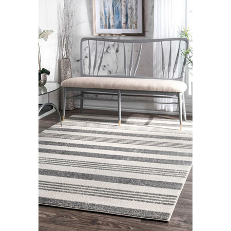 nuLoom Striped Kelsi Rug, One Size , Gray