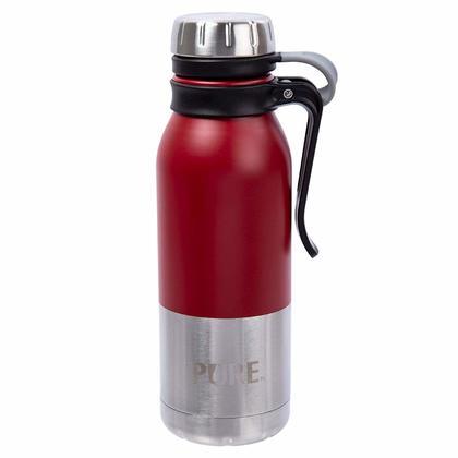 Bouteille thermique en acier inoxydable pur avec pince 500 ml, rouge