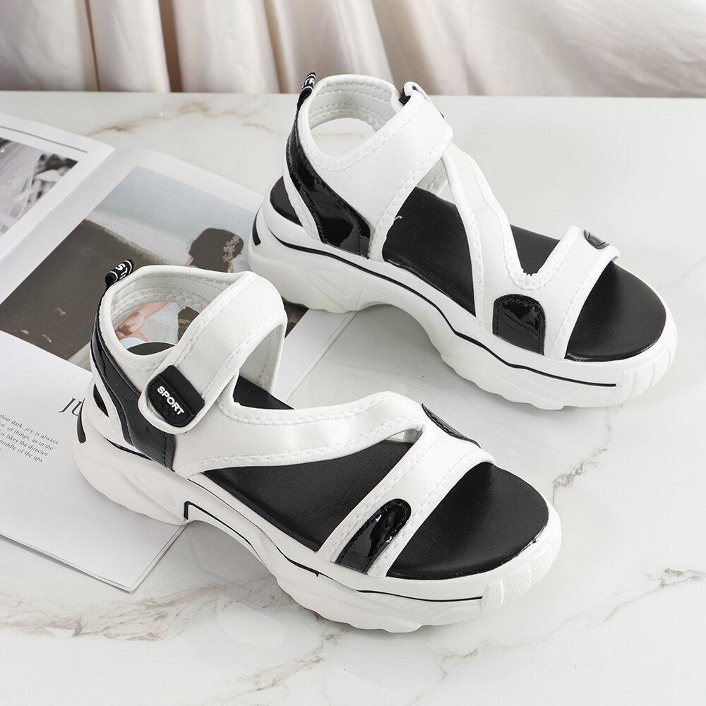 Women Athletics Styles Hook Loop Opened Toe Sandals