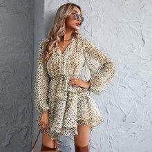 Leopard Print Drawstring Waist Layered Hem Dress