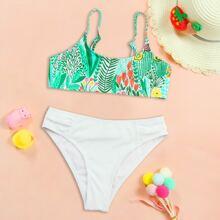 Gerippter Bikini Badeanzug mit Blumen & Pflanzen Muster