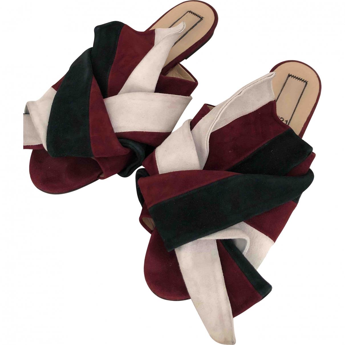 N°21 \N Burgundy Leather Flats for Women 39 EU