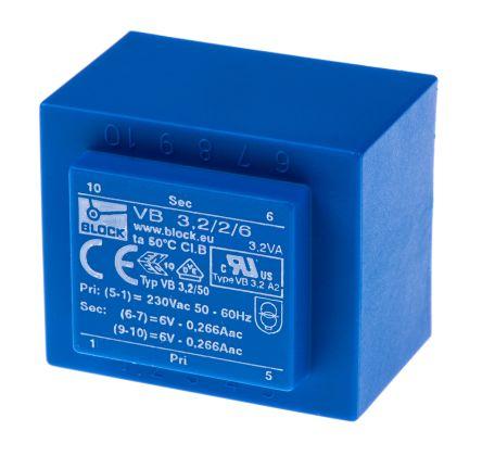 Block 6V ac 2 Output Through Hole PCB Transformer, 3.2VA