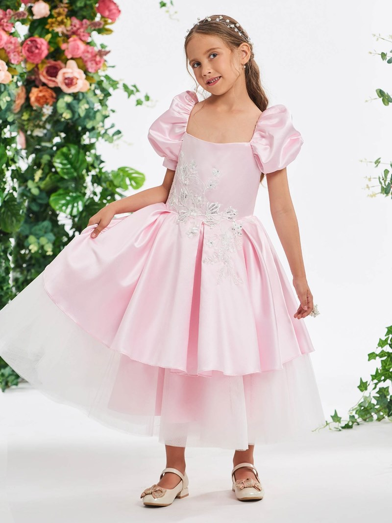 Ericdress Lantern Sleeve Appliques Beading Tea-Length Girl's Party Dress