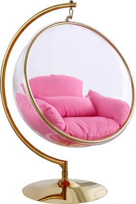 508PINK Luna Pink Fabric Acrylic Swing Bubble Accent Chair (2