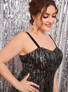 Plus Sequin Prom Maxi Cami Dress