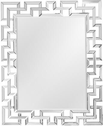 Tulsa Collection TU912 Wall Mirror with Rectangular Shape and Beveled Mirror Frame in Clear Mirror