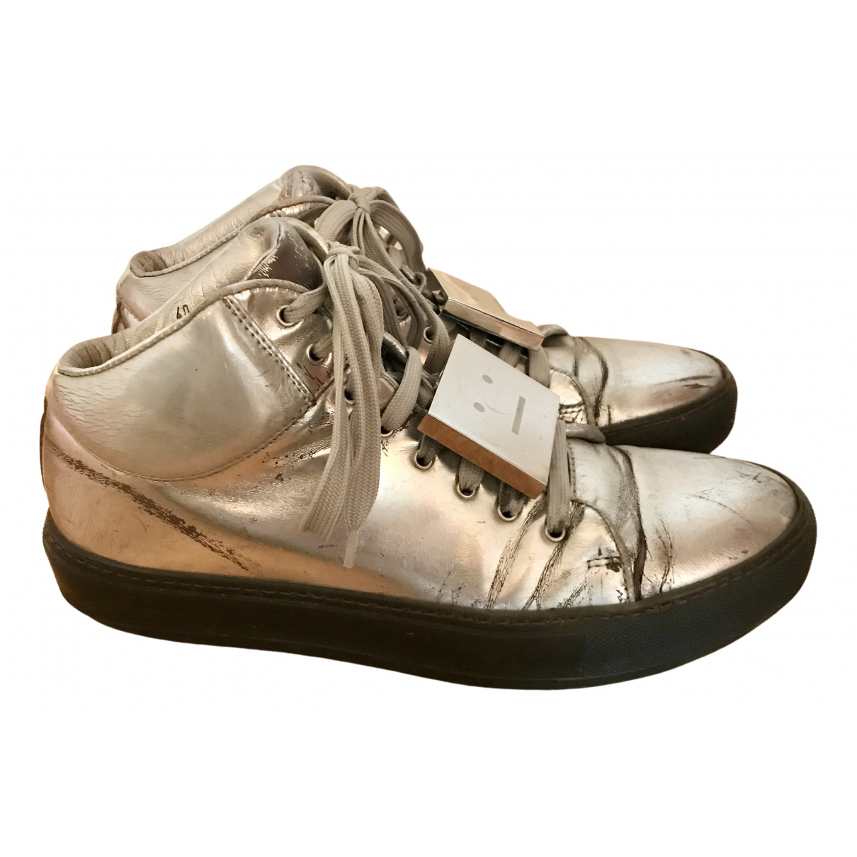Acne Studios N Silver Leather Trainers for Women 40 EU