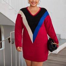 Pullover Kleid mit V Kragen und Chevron Muster