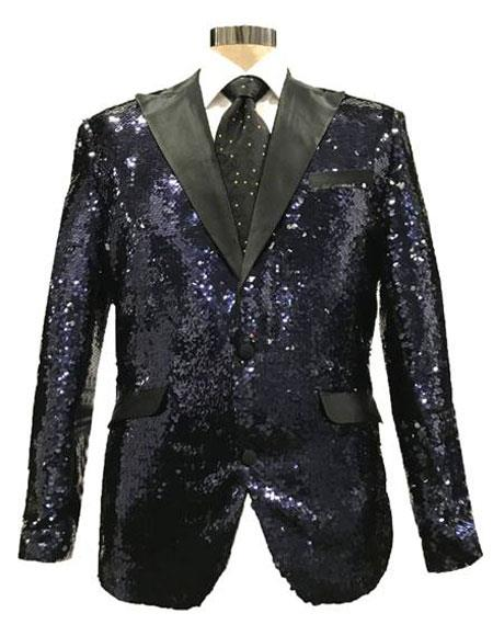 AGE624 Mens Reversible Sequin Black & Silver Blazer with Black Satin