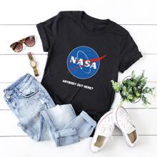 Grosse Grossen - T-Shirt mit Buchstaben Grafik und kurzen Ärmeln