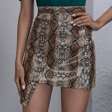 Button Front Asymmetrical Snakeskin Leather Look Skirt