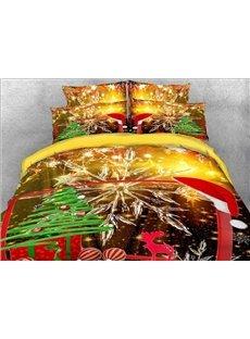 Vivilinen Christmas Gift and Snowflake Printed Cotton 3D 4-Piece Bedding Sets/Duvet Covers