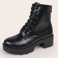 Lace-up Chunky Heeled Ankle Boots