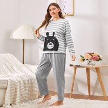 Top mit Streifen & Karikatur Grafik & Hose Schlafanzug Set
