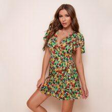 Kleid mit Blumen Muster, V Ausschnitt vorn und seitlichen Knoten