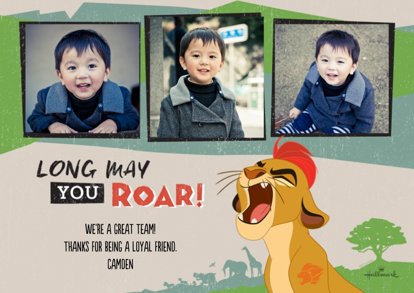 Kids Thank You Cards 5x7 Cards, Premium Cardstock 120lb with Rounded Corners, Card & Stationery -Long May You Roar - The Lion Guard