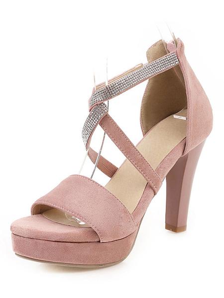 Milanoo Sandalias de plataforma para mujer Chunky Heel Criss-Cross Open Toe Plus Size Black Shoes