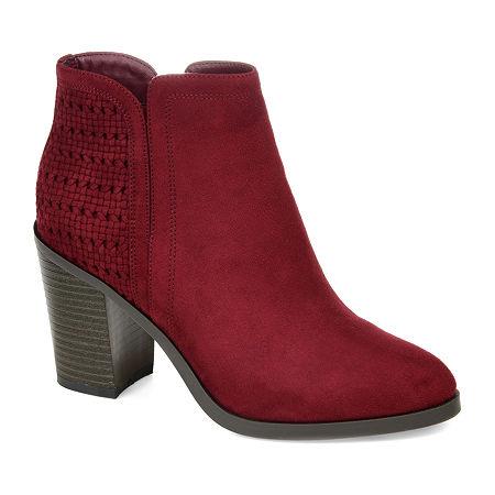 Journee Collection Womens Jessica Stacked Heel Booties, 10 Medium, Red