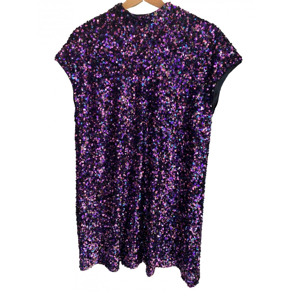 Zara \N Kleid in  Lila Mit Pailletten