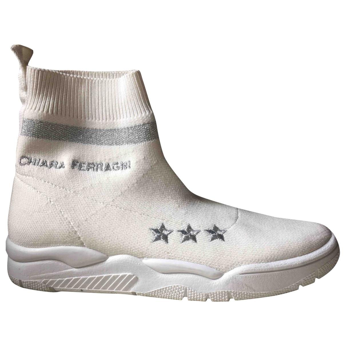 Chiara Ferragni \N Sneakers in  Weiss Leinen