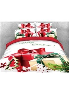 Christmas Presents and Ornaments Printed 4-Piece 3D Bedding Sets/Duvet Covers