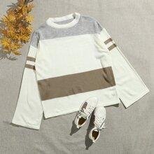 Color Block Flounce Sleeve Sweater
