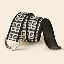 Graphic D-ring Buckle Tape Belt