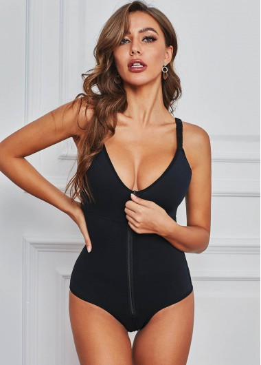 Women'S Black V Neck Strappy Zipper Closure Bodysuit Solid Color Spaghetti Strap Leotard By Rosewe - 5XL