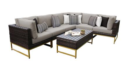 Barcelona BARCELONA-07b-GLD-BEIGE 7-Piece Patio Set 07b with 3 Corner Chairs  3 Armless Chairs and 1 Coffee Table - 2 Beige Covers with Gold