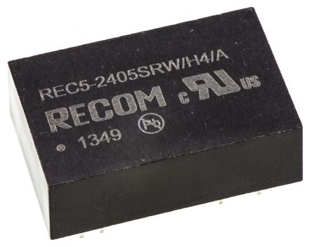 Recom REC5 5W Isolated DC-DC Converter Through Hole, Voltage in 18 → 36 V dc, Voltage out 5V dc Medical Approved