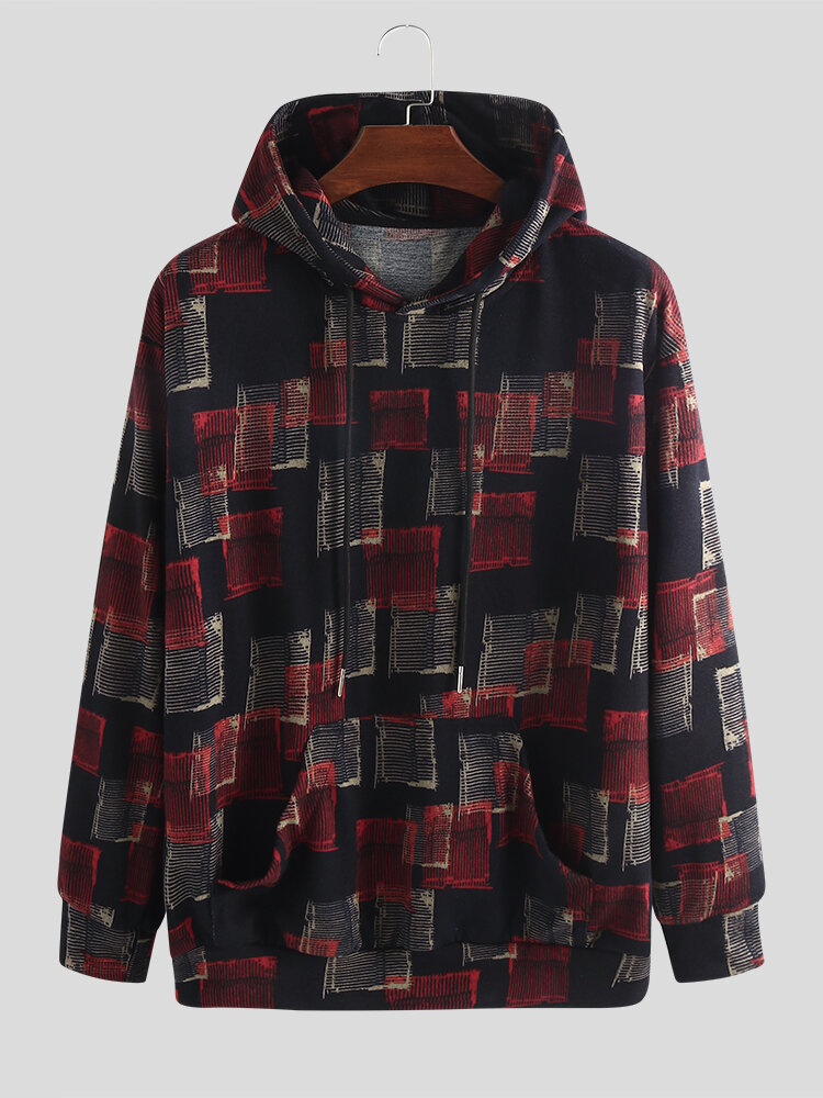 Mens Vintage Colorblock Knitted Pullover Hoodie With Kangaroo Pocket