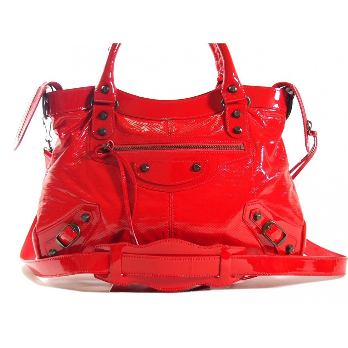 Balenciaga - Sac a main Velo pour femme en cuir verni - rouge