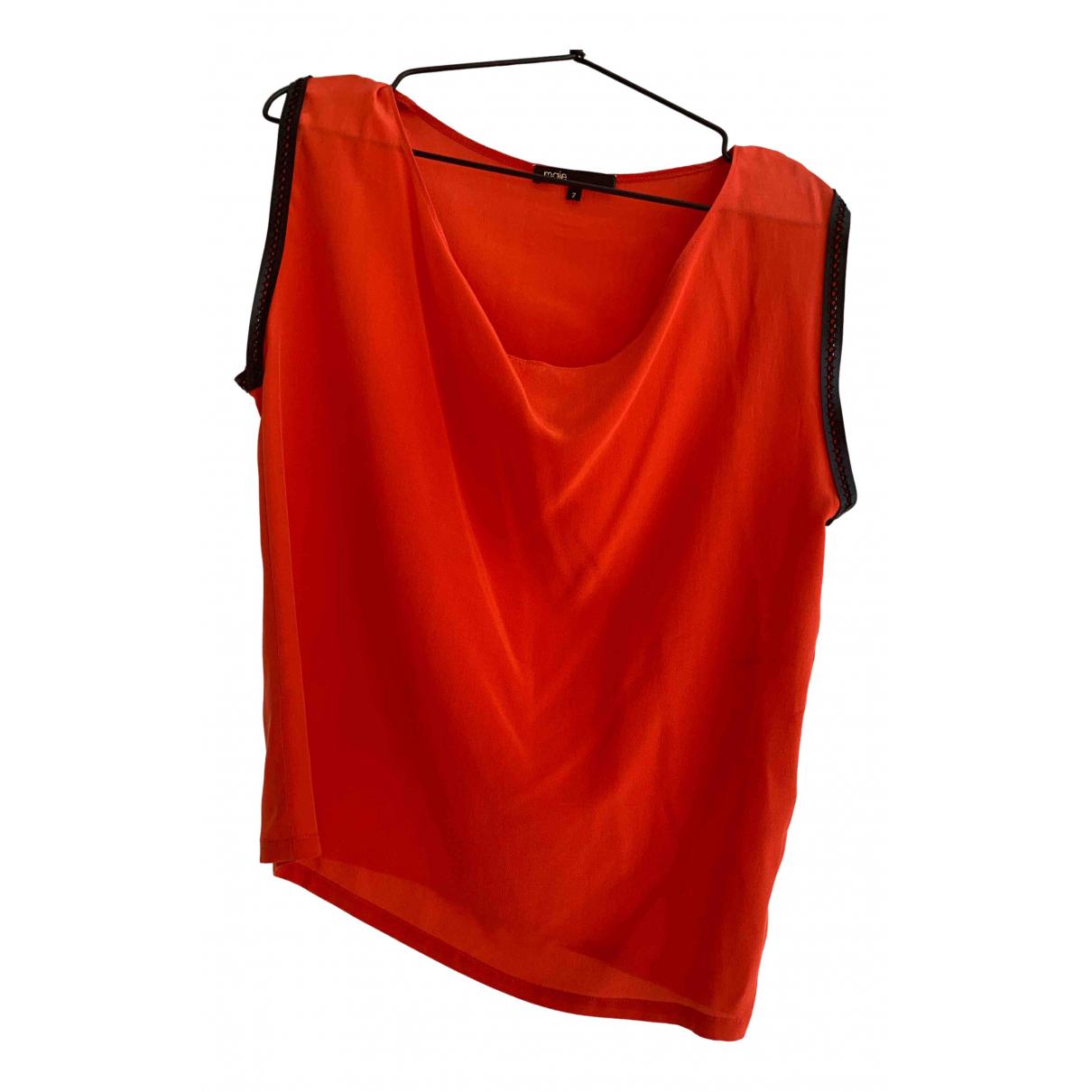 Maje - Top   pour femme en soie - rouge