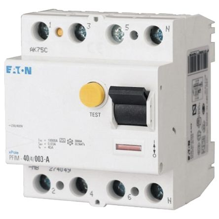 Eaton 3 + N 40 A Instantaneous RCD, Trip Sensitivity 300mA
