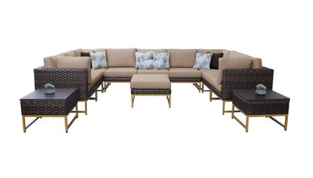 Barcelona BARCELONA-12g-GLD-WHEAT 12-Piece Patio Set 12g with 4 Corner Chairs  5 Armless Chairs  1 Ottoman and 2 End Tables - Beige and Wheat Covers