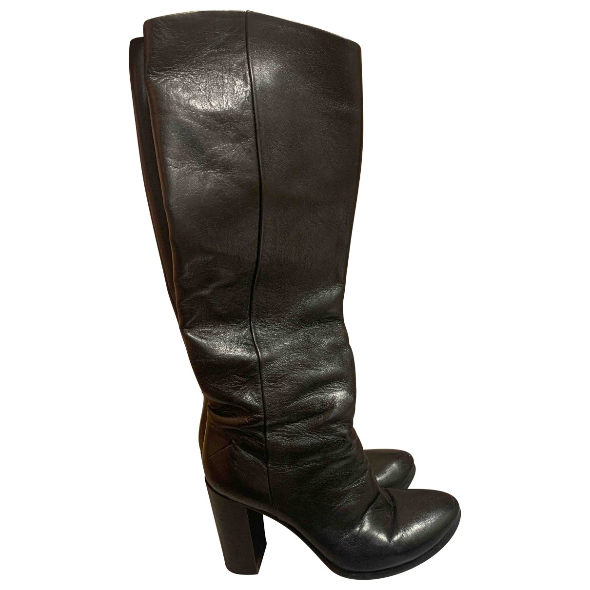 Costume National N Black Leather Boots for Women 38.5 IT