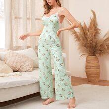 Mono de pijama de tirantes con estampado floral ribete con encaje
