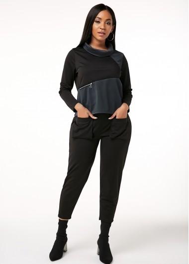 Pocket Contrast Zipper Detail Sports Suit - M
