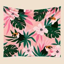 Flower & Bird Print Tapestry