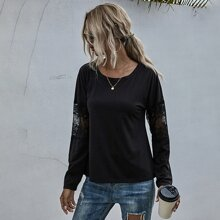 Contrast Lace Round Neck Tee