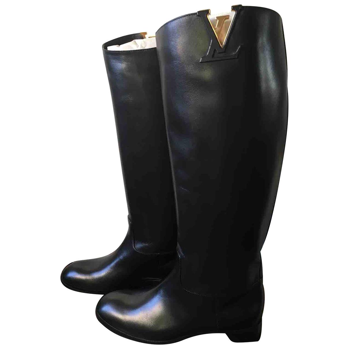 Louis Vuitton Skyline Black Leather Boots for Women 36 IT