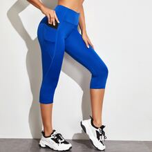 Wide Waistband Sports Leggings With Phone Pocket